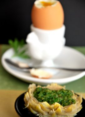 Artichoke Bottoms with Green Sauce