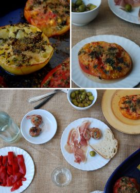 Cheesy figs, baked heirloom tomatoes and marinated olives for my little father