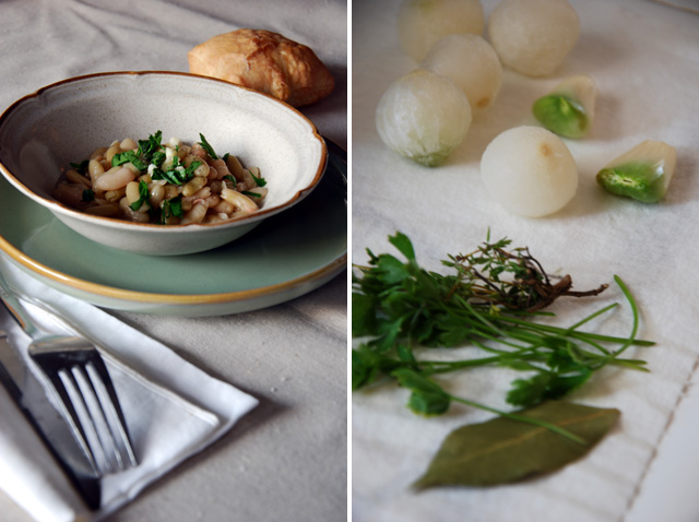 French flageolet beans served in a bowl with parsley
