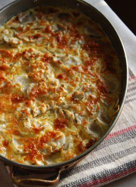 Sunchoke Gratin Dauphinois, a rich satisfying dish!