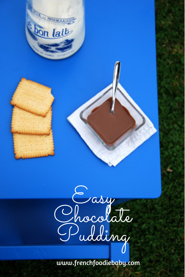 A child's table with a homemade chocolate pudding that is healthier than junk food