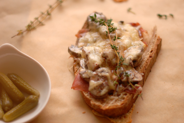 Mushroom Toast with cheese and prosciutto