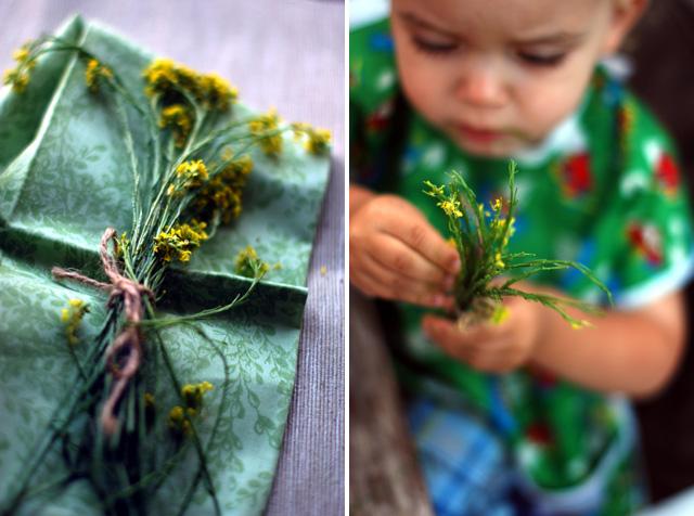 a baby looking at mustard greens
