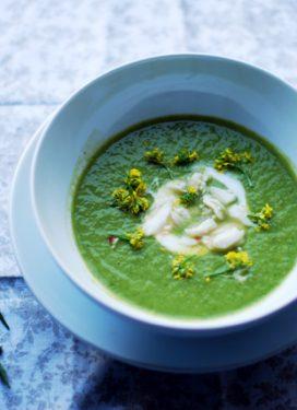 Asparagus, arugula, avocado soup, & eating on the wild side