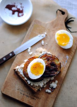 Homemade Ricotta Toast, with eggplant and a soft egg