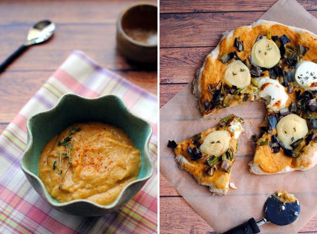 Eggplant Caviar, Leeks & Goat Cheese Pizza