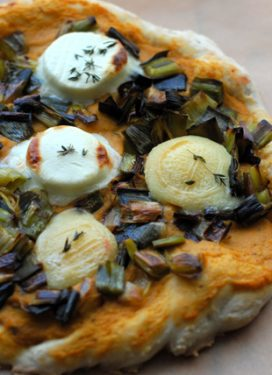 Goat Cheese Pizza, with leeks and eggplant, together at last ;)
