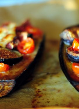 Baked eggplant, figs & goat cheese… & the meaning of sharing