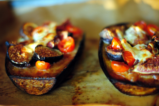 baked eggplant with figs, cherry tomatoes and goat cheese