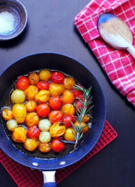 Back… with gratitude & vanilla rosemary cherry tomatoes
