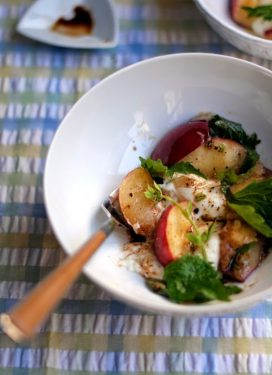 Simple peach, shiso, mozzarella salad… and our week's menu