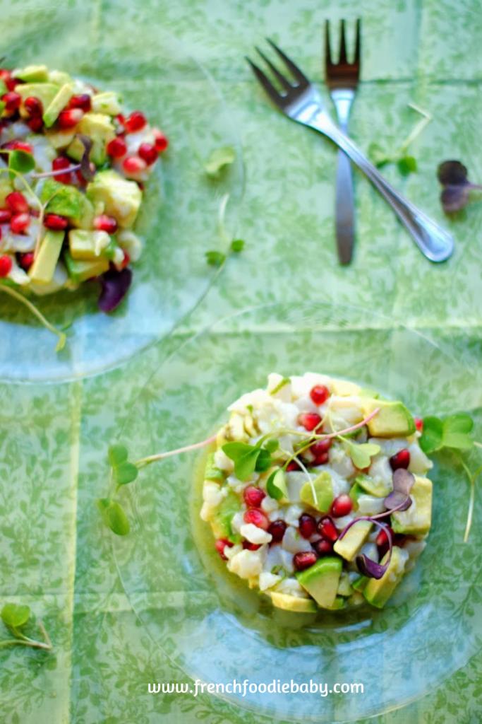 A scallop pomegranate tartare