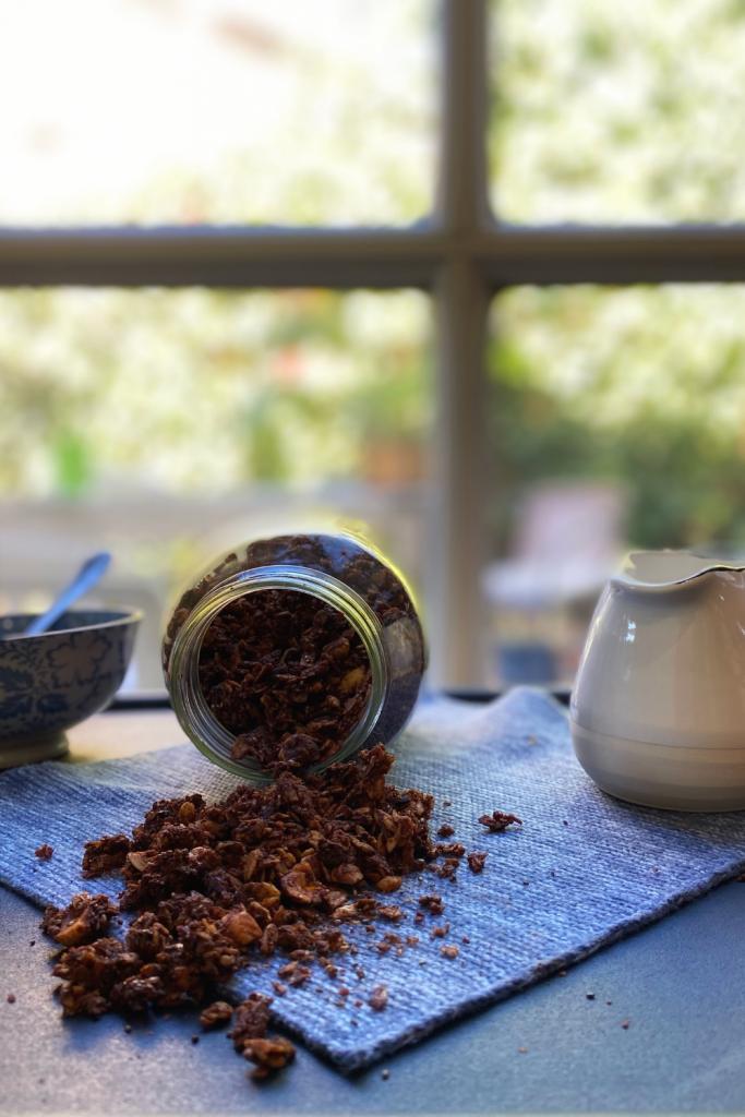 A class jar full of homemade chocolate hazelnut granola