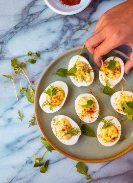 Deviled Eggs with Pesto, Yogurt and Crème Fraîche