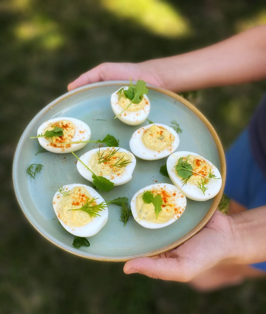 A boy's hands holding a plate with deviled eggs in a garden