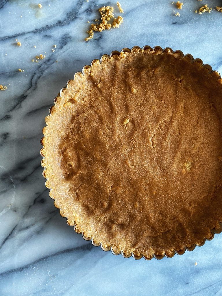 a butter cookie pie dough pressed in a pie mold